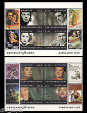 Motion Picture Centenary pair of Souvenir Sheets Gibraltar 1995 movie stars