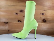 "CR Lexi 2 Bright Yellow Stretch Velveteen Booties 4.5"" High Heel Boot 6-11"
