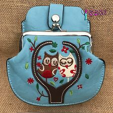 Pale Blue Owl Purse Small bag with Phone Spectacles  Holder Long & Short Straps