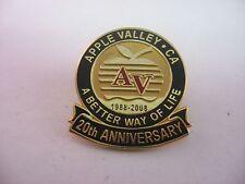 Lapel Hat Pin: Apple Valley California AV 20th Anniversary 1988-2008