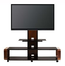 TransDeco Glass TV Stand w/ Universal Mount Wheels for 50 60 65 70 80 LCD/LED TV