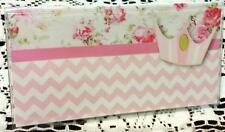 Vinyl Checkbook Cover Chevron Stripes Pink Roses Princess Suzie's Designs