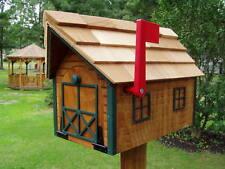 Amish Handmade Handcrafted Rural Mailbox w Flag USPS Wood Roof Cedar/ Green Trim