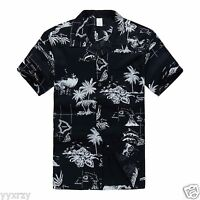 Men Aloha Shirt Cruise Tropical Luau Beach Hawaiian Party Navy Map Palm Island