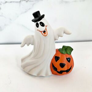 Vintage Ghost With Black Top Hat & Jack O Lantern Halloween Figurine Ceramic CT6