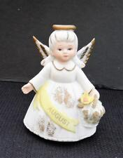 "Vintage 1988 Lefton Bisque Porcelain August Angel 4""h Figurine Twp06800"