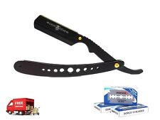 100 BLADES & BARBER STRAIGHT SHAVING RAZOR CUT THROAT FOLDING SALON RASOI BLACK
