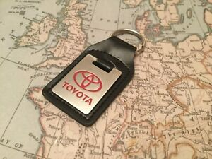 TOYOTA BLACK LEATHER KEY RING FOB ETCHED AND INFILLED  OBLONG
