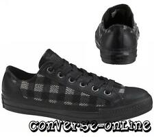 Mens Women CONVERSE All Star BLACK BUFFALO PLAID WOOL LEATHER Trainers UK SIZE 5