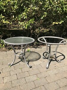 Pair Of Brown Jordan Outdoor Roma Side Tables Mica
