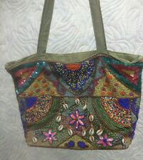 Vintage Embroidered And Beaded Purse Hipster Hand Bag