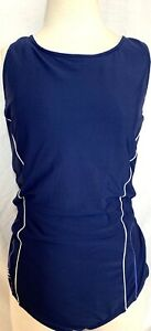 Lands'  End Blue One Piece Swimsuit w/ White Piping Excellent 20W