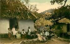 Panama, Group of Panama Natives and Their Home 1910's Postcard