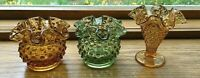 "3 FENTON GLASS GREEN AMBER TRUMPET HOBNAIL CRIMPED AND RUFFLED 3"" VASE 1950-1970"