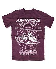 Airwolf  T-Shirt BURGUND  Helikopter Hubschrauber Kult TV Serie 80er Huckleberry