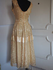 True Vintage 1950's Nude Chantilly Lace Satin Ribbon Bow Party Dress Full Skirt