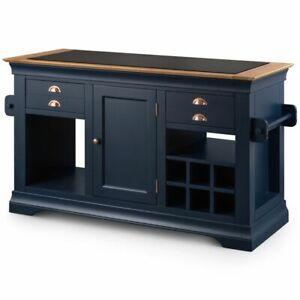 Kansas blue painted furniture large granite top kitchen island unit worktop