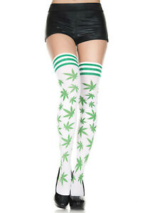 420 Leaf Print Thigh Highs White and Green Striped Top New O/S