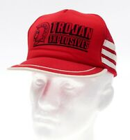 Vintage Mesh Trucker Hat TROJAN EXPLOSIVES Vtg 3 Stripe Hat SNAPBACK Cap Red USA