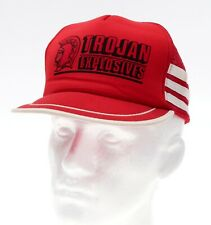Vintage Mesh Trucker Hat TROJAN EXPLOSIVES Vtg 3 Stripe Hat SNAPBACK Cap Red USA
