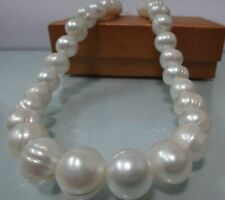 "HUGE 9-10MM NATURAL SOUTH SEA WHITE BAROQUE PEARL NECKLACE 18""L 14k"
