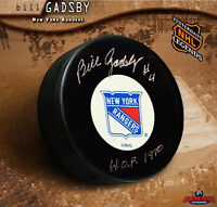 BILL GADSBY Signed New York Rangers Puck w/ Hall of Fame Inscription