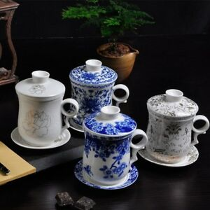 NEW Chinese Ceramic Blue and white Porcelain Tea Cup Mug with Infuser&lid&saucer