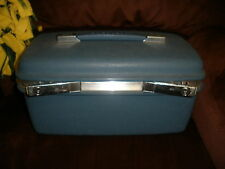 SAMSONITE BLUE TRAIN, VANITY MAKE UP CASE WITH KEY VINTAGE