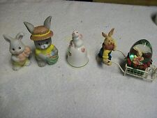 LOT OF RABBIT COLLECTIBLES BELL RABBIT WITH CART ETC. NICE ITEMS!!!