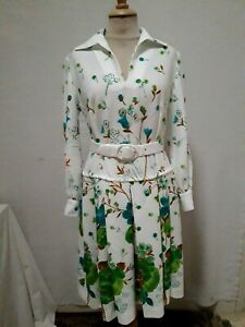 ROBE PLISSEE MANCHES LONGUES polyester T.40 VINTAGE 70 SLEEVE PLEATED DRESS sz M