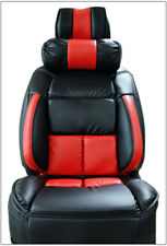 UNIVERSAL LIMOUSINE BLACK/RED S.LEATHER FRONT ONE SEAT COVER WITH NECK CUSHION
