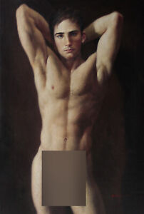 """Art prints canvas transfer from oil painting male nude handsome men Deco 24""""x36"""""""