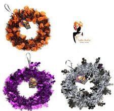 24cm Halloween Tinsel Wreath Skull Autumn Home Party Hanging Decor Lot 976037