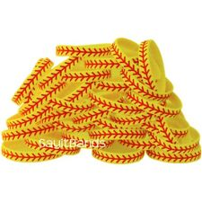 100 Wristbands with Softball Design Debossed Color Filled Thread Pattern Bands
