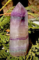 75.2g SOOTHING Banded Purple Fluorite  Crystal Healing Wand CHINA Reiki Charged