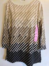 RAFAELLA Women's Cotton 3/4 Sleeve Top Black Brown Shirt NWT Size Small