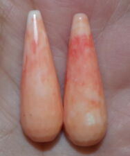 RECONSTITUTED ANGEL SKIN CORAL CARVED TEAR DROPS 29MM DRILLED EARRINGS PENDENTS