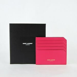 YSL Saint-Laurent Paris Men/Unisex Fuchsia Leather Card Holder 327211 5514