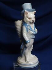 Antique German Porcelain Gentelman Cat W/ Backpack Matich Holder & Striker Fine