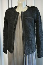 PROMOD Damen Boucle Tweed Strick Jacke Gr. S Schwarz m. Wolle TOP *309