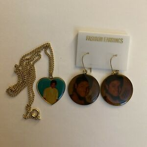 Michael Jackson Vintage Gold Heart Charm Necklace & Earrings Thriller Jewelry