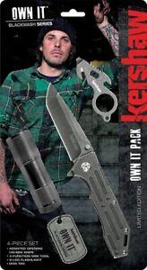 Kershaw - Own It 4-Piece Knife Gift Pack - Mini Tool - Led Flashlight - Dog Tag