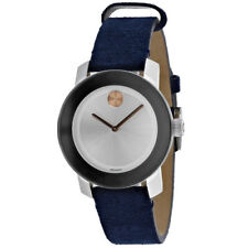 Movado Women's Bold 36mm Blue Suede Band Steel Case Quartz Watch 3600446