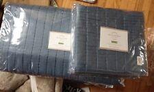 Pottery Barn Silk Channel Quilt Set Pearl Blue Queen 2 Standard Shams New