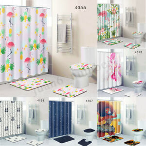 4X Christmas Gifts 3D Printed Shower Curtain Waterproof Bathroom Set & 12  A