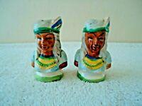 Vintage Made In Japan Native American Indian Head Salt & Pepper Shaker Set