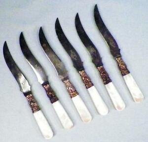6 Pearl Handle Fruit Knives Sterling Bolsters Wm Rogers Warranted Antique in Box