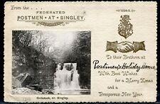 GREAT BRITAIN CHRISTMAS CARD POSTMEN HOLIDAY HOME BINGLEY YORKSHIRE