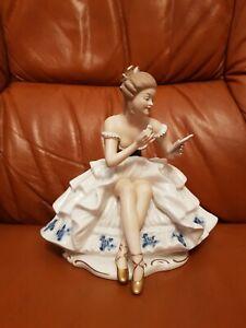 Wallendorf Porzellanfigur -Tänzerin - Ballerina mit Spiegel -