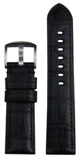 22mm XL Panatime Black Genunie Alligator Watch Band w/ Black Stitch 135/85 22/20